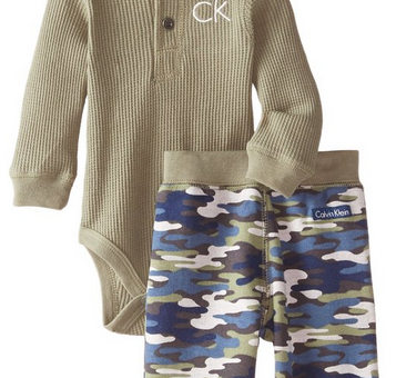 Calvin Klein Baby-Boys Newborn Green Bodysuit with Camo