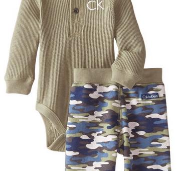 Calvin Klein Baby-Boys Newborn Green Bodysuit with Camo
