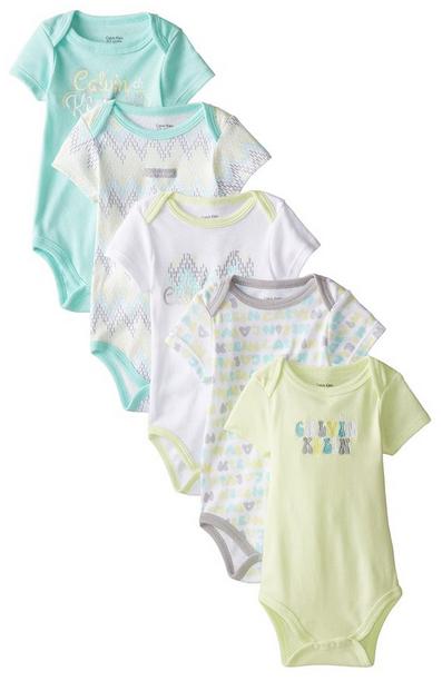 Calvin Klein Baby Girls 5pc Bodysuit Set Cloth 4 Baby